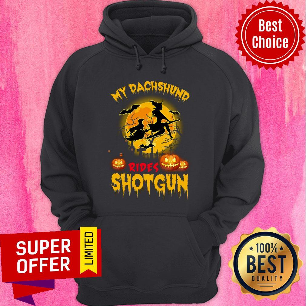 Top My Dachshund Rides Shotgun Scary Halloween Hoodie