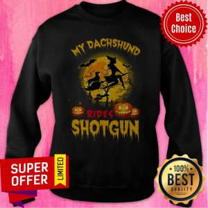 Top My Dachshund Rides Shotgun Scary Halloween Sweatshirt