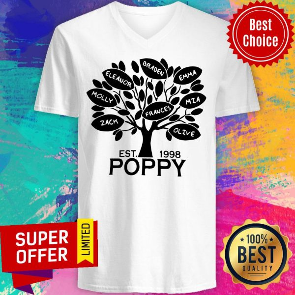 Awesome Coolspod Personalized EST 1998 Poppy Tree V-neck