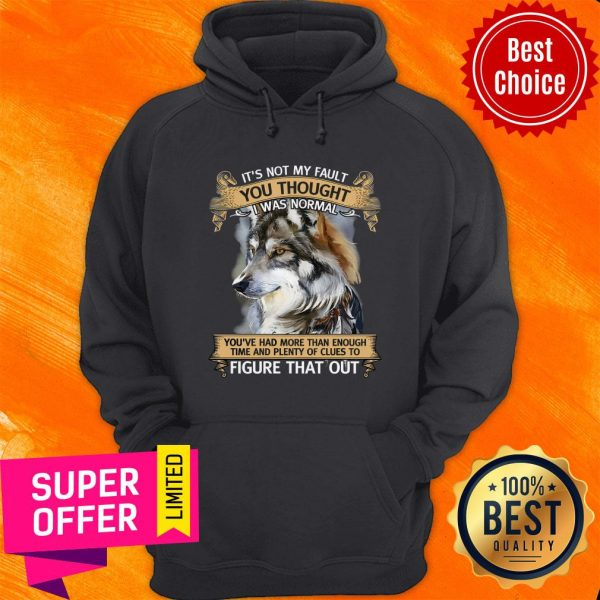 Funny It's Not My Fault You Thought I Was Normal Figure That Out Wolf Hoodie