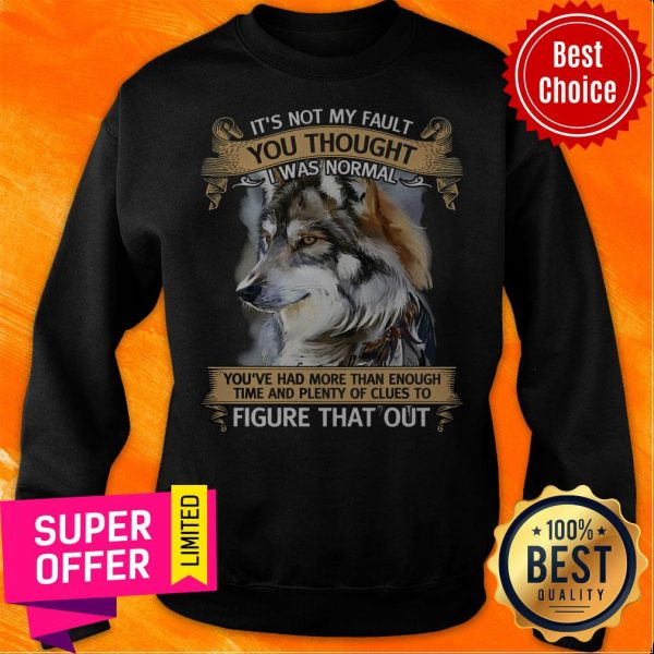Funny It's Not My Fault You Thought I Was Normal Figure That Out Wolf Sweatshirt