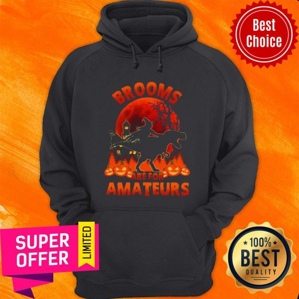 Funny Witch Riding Dinosaurs Brooms Are For Amateurs Halloween Hoodie