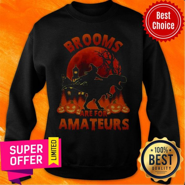Funny Witch Riding Dinosaurs Brooms Are For Amateurs Halloween Sweatshirt
