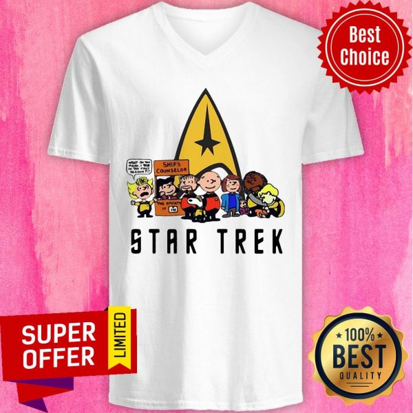 Nice Star Trek Ship's Counselor Peanuts Characters V-neck