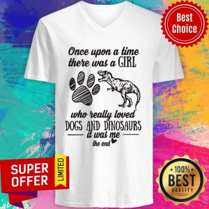 Once Upon A Time There Was A Girl Who Really Loved Dogs And Dinosaurs It Was Me The End V-neck