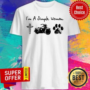 Top I'm A Simple Woman Jesus Motorcycle Dog Paw Shirt