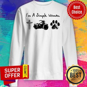 Top I'm A Simple Woman Jesus Motorcycle Dog Paw Sweatshirt
