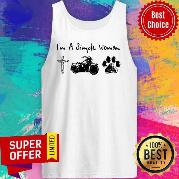 Top I'm A Simple Woman Jesus Motorcycle Dog Paw Tank Top