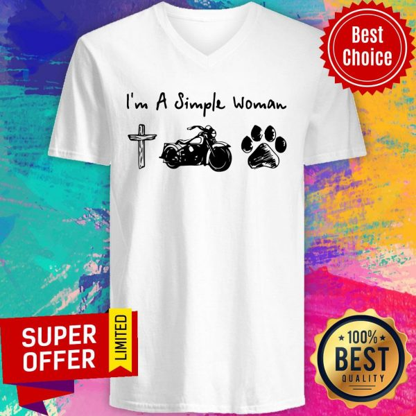 Top I'm A Simple Woman Jesus Motorcycle Dog Paw V-neck