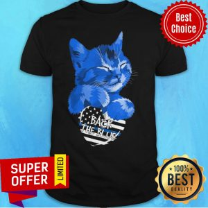 Funny Cat Hug Heart Back The Blue Shirt