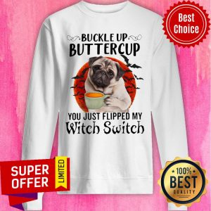 Pug Dog Buttercup You Just Flipped My Witch Switch Halloween Sweatshirt