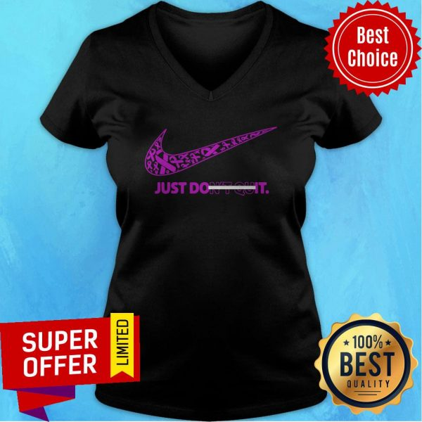 Top Breast Cancer Awareness Nike Just Don't Quit V-neck