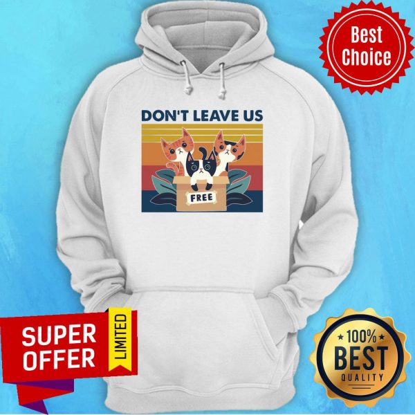 Awesome Three Cats Don't Leave Us Vintage Retro Hoodie