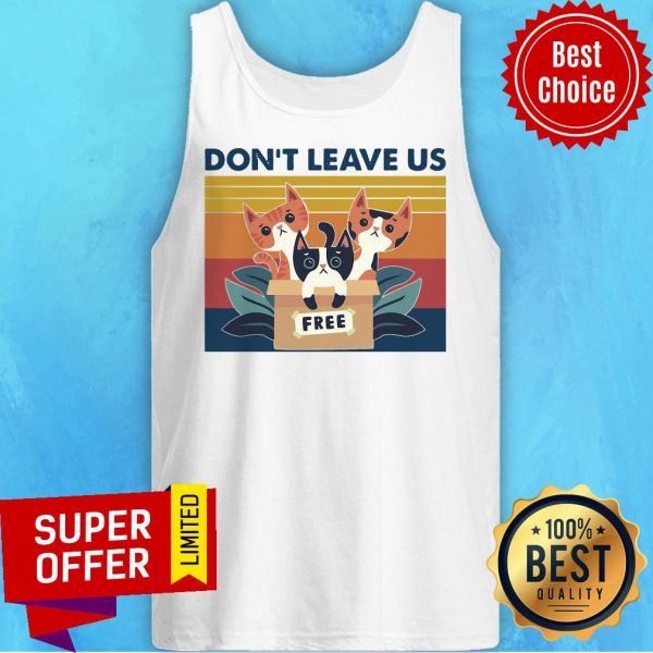 Awesome Three Cats Don't Leave Us Vintage Retro Tank Top