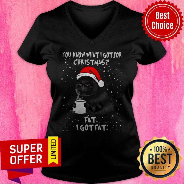 Black Cat You Know What I Got For Christmas Fat I Got Fat V-neck