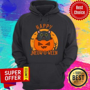 Happy Meow O Ween Blood Moon Halloween Black Cat Hoodie