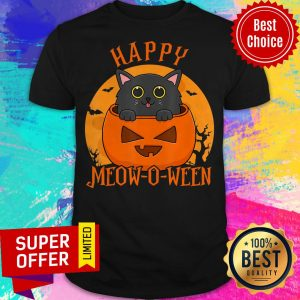Happy Meow O Ween Blood Moon Halloween Black Cat Shirt