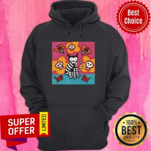 Funny Skelly Cat With Bees Dia De Muertos Day Of Dead Hoodie