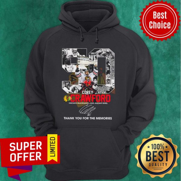 50 Corey Crawford Chicago Blackhawks 2005-2020 Thank You For The Memories Signature Hoodie