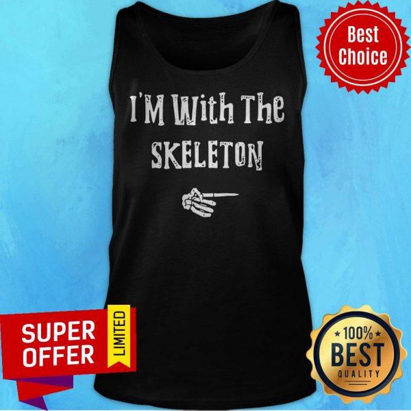 I'm With Skeleton Halloween Costume Funny Couples Matching Tank Top