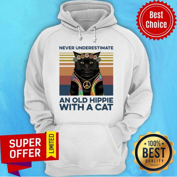 Never Underestimate An Old Hippie With A Cat Vintage Retro Hoodie