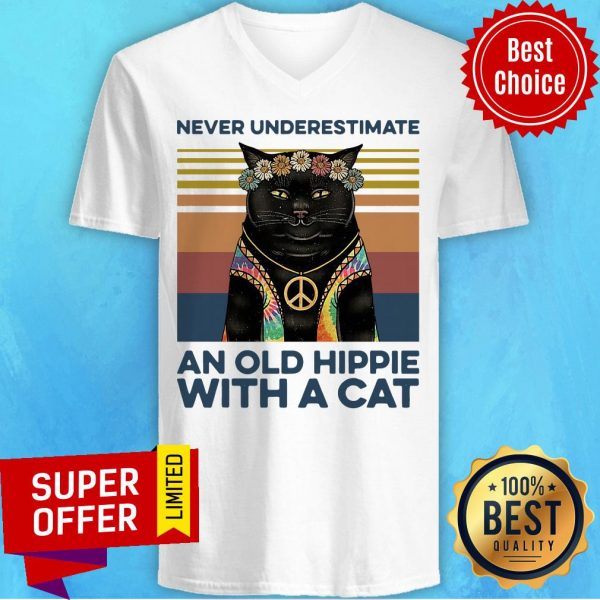 Never Underestimate An Old Hippie With A Cat Vintage Retro V-neck