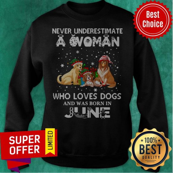 Never Understimate A Woman Who Loves Dogs And Was Born In June Sweatshirt