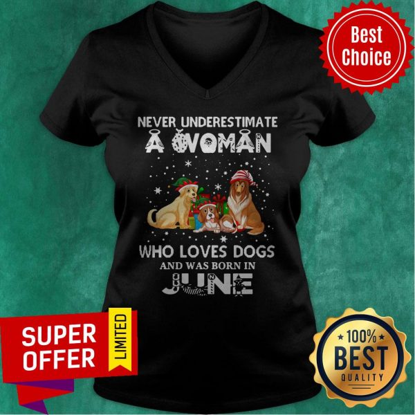 Never Understimate A Woman Who Loves Dogs And Was Born In June V-neck
