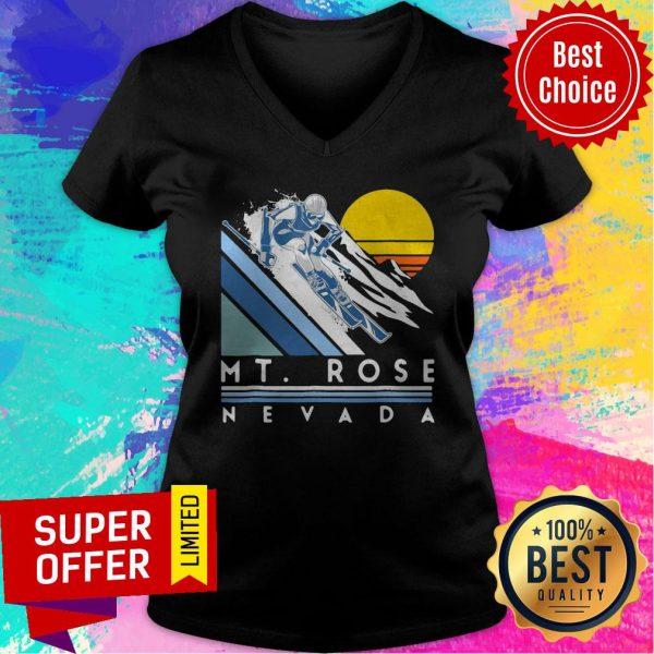 Nice Mt Rose Nevada Retro Ski V-neck