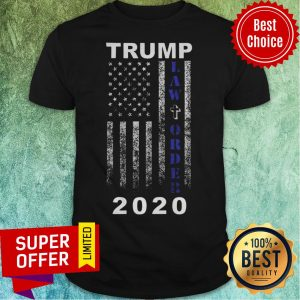 Trump 2020 Law And Order American Flag Vintage Distressed Shirt