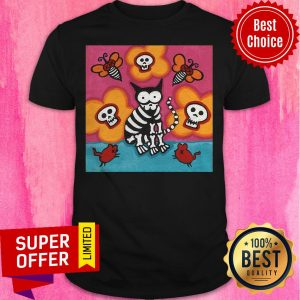 Funny Skelly Cat With Bees Dia De Muertos Day Of Dead Shirt