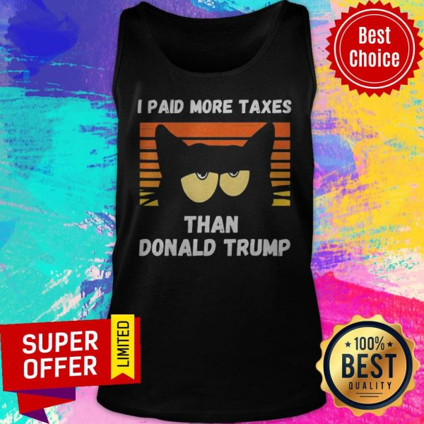Vintage I Paid More Taxes Than Donald Trump2020 Debate Cat Tank Top