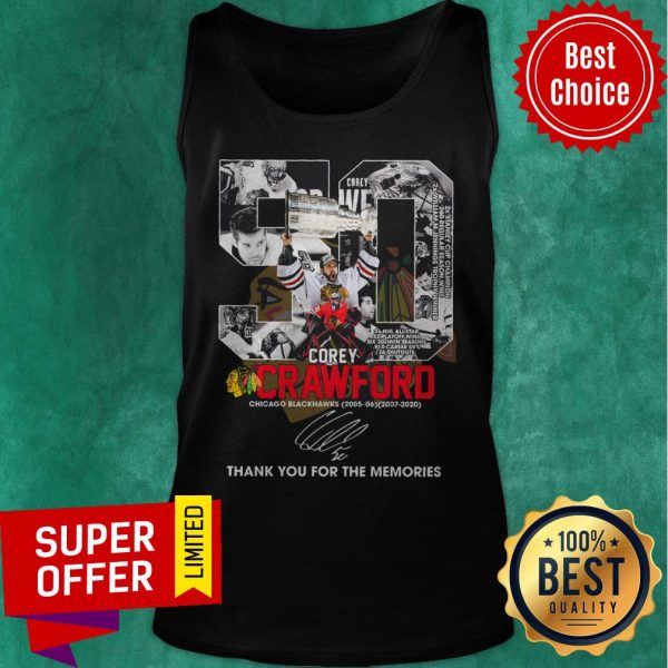 50 Corey Crawford Chicago Blackhawks 2005-2020 Thank You For The Memories Signature Tank Top