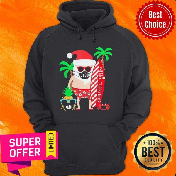 Top Christmas Surfing Santa Face Mask Hoodie