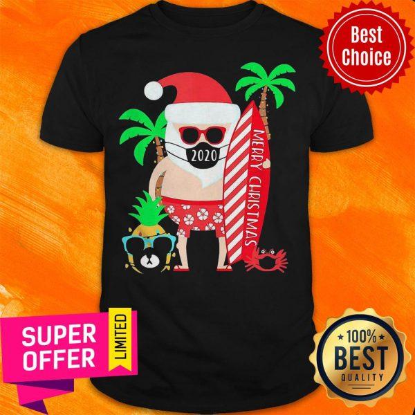 Top Christmas Surfing Santa Face Mask Shirt