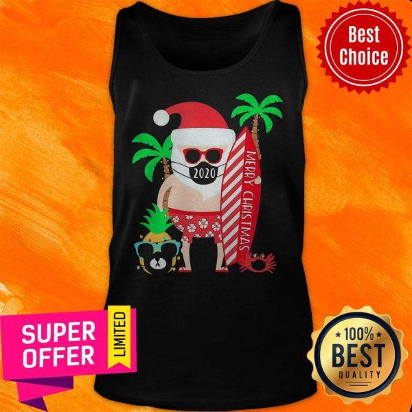 Top Christmas Surfing Santa Face Mask Tank Top