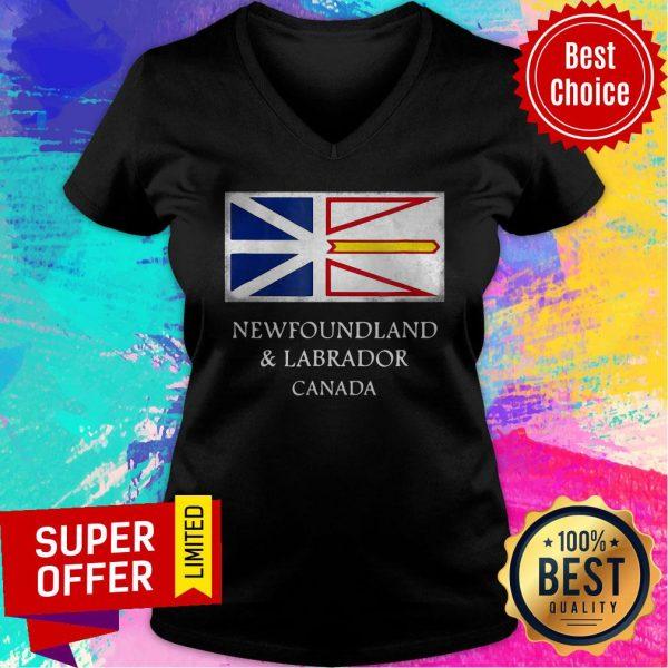 Top Newfoundland And Labrador Canada Flag V-neck