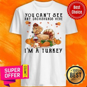 Top You Can'T See Any Dachshunds Here I'M A Turkey Pumpkin Shirt