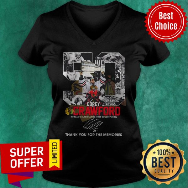 50 Corey Crawford Chicago Blackhawks 2005-2020 Thank You For The Memories Signature V-neck