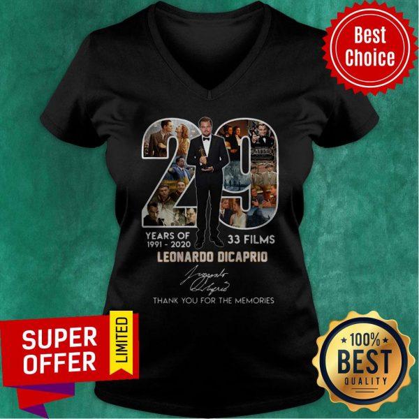 29 Years Of 1991 2020 33 Films Leonardo DiCaprio Signature Thank You For The Memories V-neck