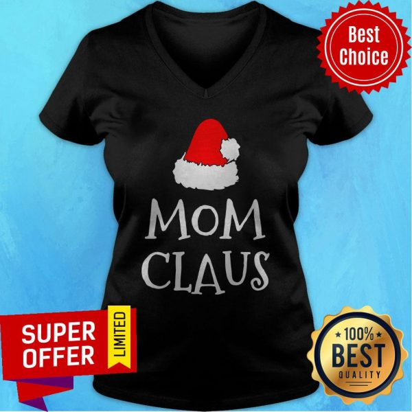 Awesome Mom Claus Christmas Hat V-neck