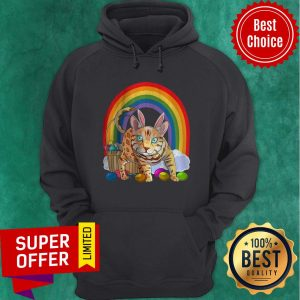 Funny Bengal Cat Easter Eggs Bunny Rabbit Rainbow Hoodie