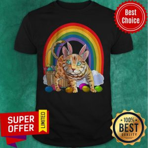 Funny Bengal Cat Easter Eggs Bunny Rabbit Rainbow Shirt