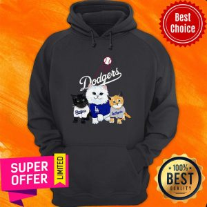 Funny Three Cat Black White And Yellow Los Angeles Dodgers Hoodie