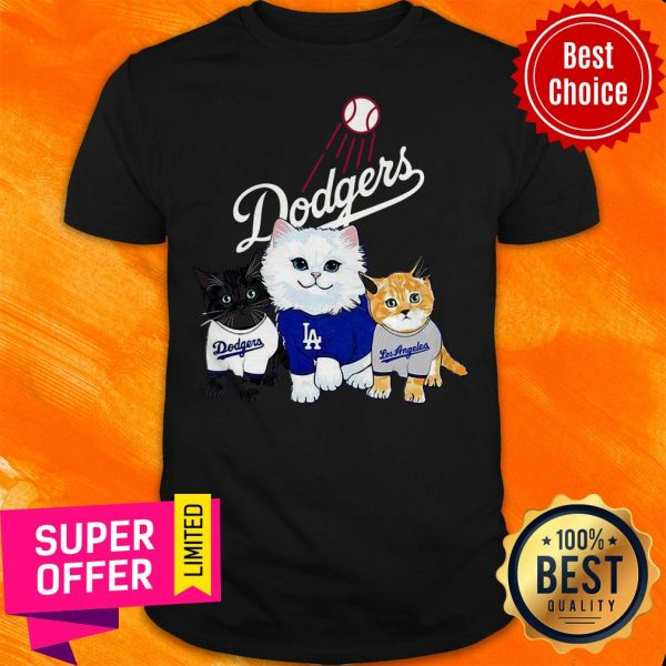 Funny Three Cat Black White And Yellow Los Angeles Dodgers Shirt