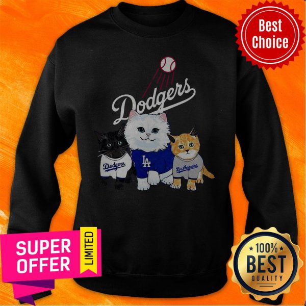 Funny Three Cat Black White And Yellow Los Angeles Dodgers Sweatshirt