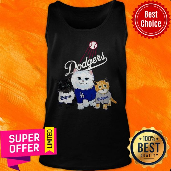 Funny Three Cat Black White And Yellow Los Angeles Dodgers Tank Top