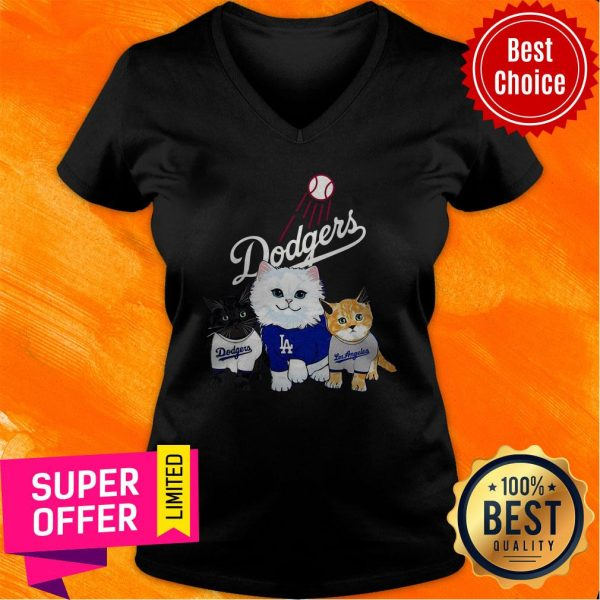 Funny Three Cat Black White And Yellow Los Angeles Dodgers V-neck