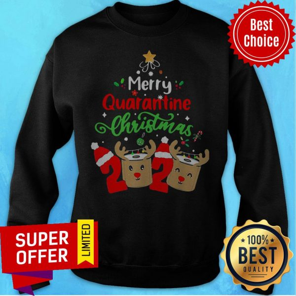 Merry Quarantine Christmas 2020 Reindeer Toilet Paper Sweatshirt