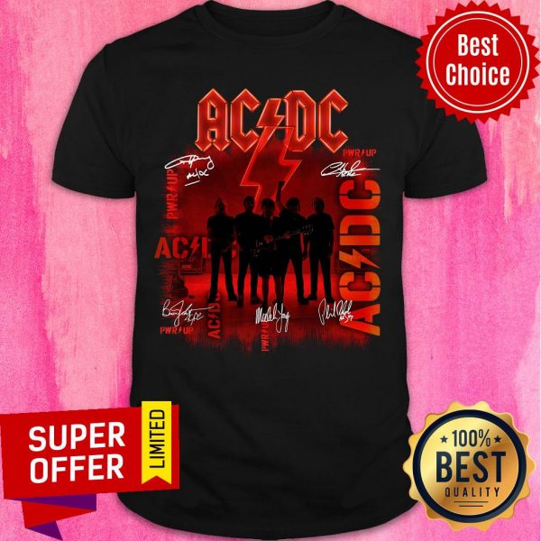 Premium ACDC Rock Band Power Up Album Signatures Shirt